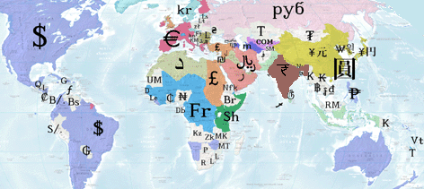 Image of different currencies in the world