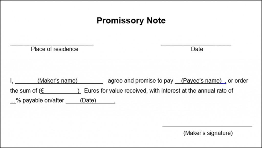 Example of simple promissory note